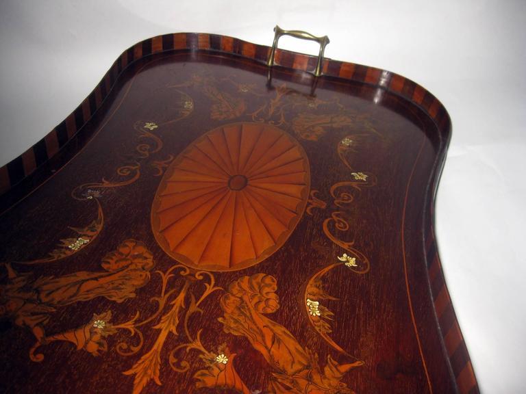 Regency 19th Century English Mahogany Tray with Fruitwood Inlay For Sale