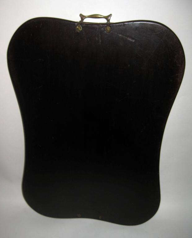 Brass 19th Century English Mahogany Tray with Fruitwood Inlay For Sale