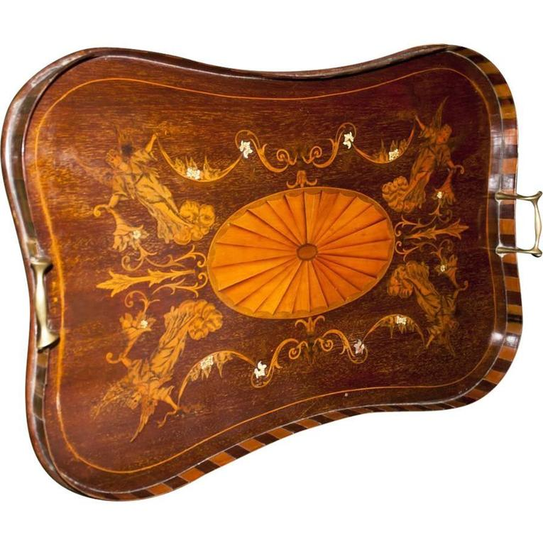 19th Century English Mahogany Tray with Fruitwood Inlay For Sale 2