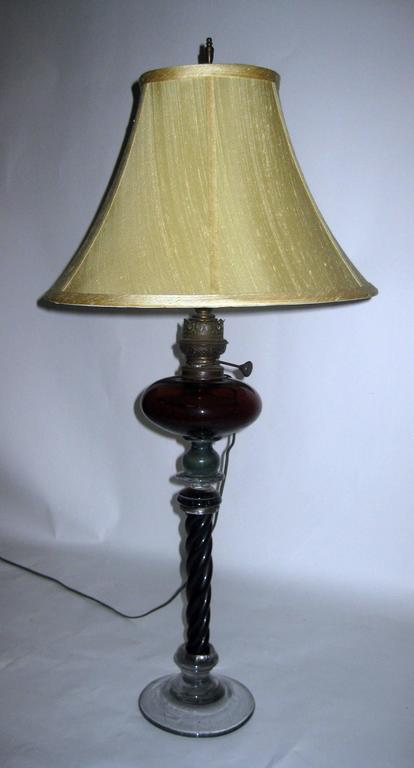 19th Century American Twisted Glass Column Lamp For Sale