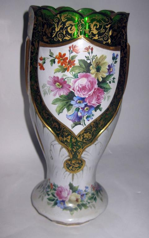 19th Century Moser Bohemian Art Glass Overlay Vase For Sale At 1stdibs