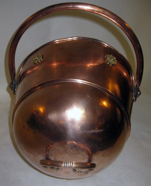 Late 19th Century  19th century Scottish Helmet Copper Coal Scuttle For Sale