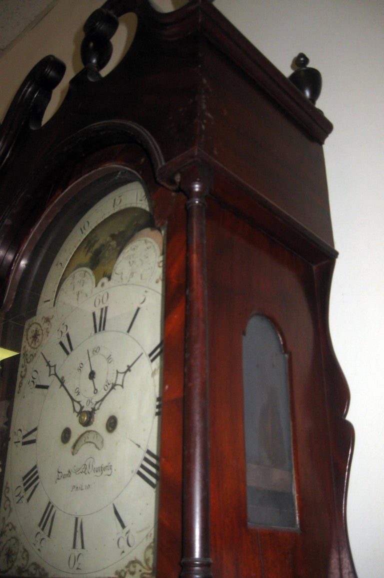 American Federal Mahogany Tall Case Clock, David Weatherly, Philadelphia For Sale 1