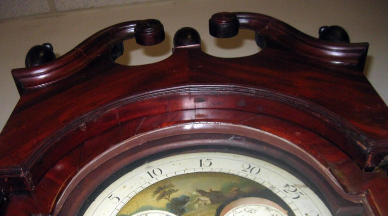 American Federal Mahogany Tall Case Clock, David Weatherly, Philadelphia For Sale 2