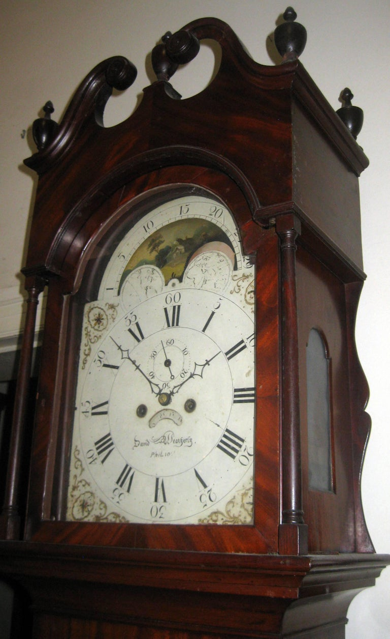 American Federal Mahogany Tall Case Clock, David Weatherly, Philadelphia For Sale 6