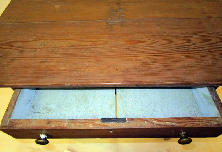19th century American Primitive Cypress Work Table For Sale 2