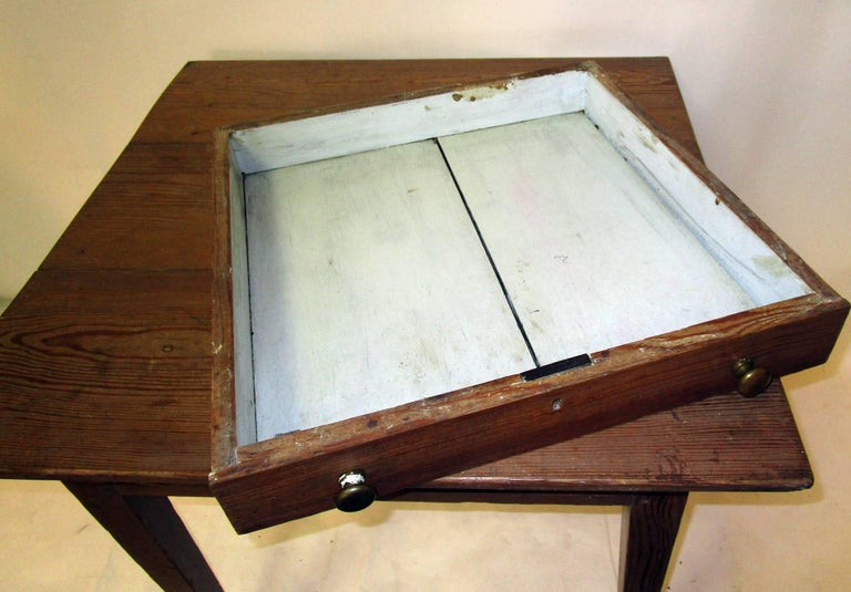 19th century American Primitive Cypress Work Table For Sale 3