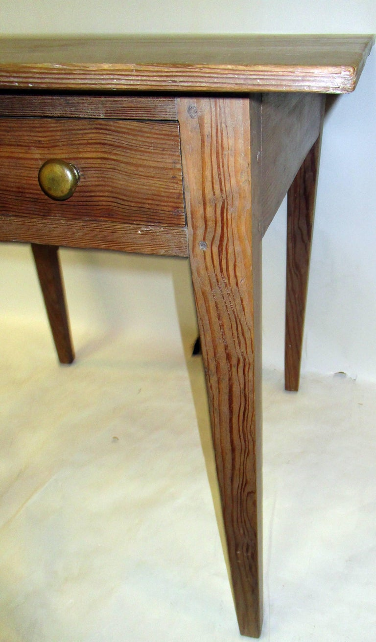 Early 19th Century 19th century American Primitive Cypress Work Table For Sale