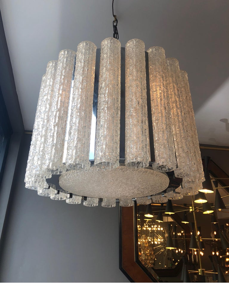 Italian Murano Glass Drum Chandelier Attributed to Venini In Good Condition For Sale In London, GB