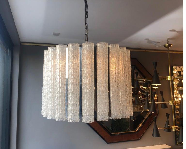 Italian Murano Glass Drum Chandelier Attributed to Venini For Sale 1