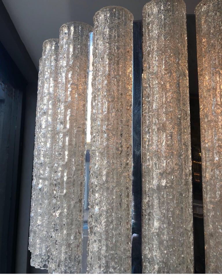 Italian Murano Glass Drum Chandelier Attributed to Venini For Sale 2