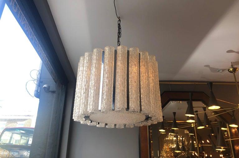 Mid-20th Century Italian Murano Glass Drum Chandelier Attributed to Venini For Sale
