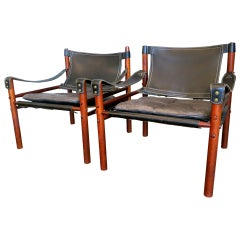 Pair of Leather Safari Armchairs by Arne Norell
