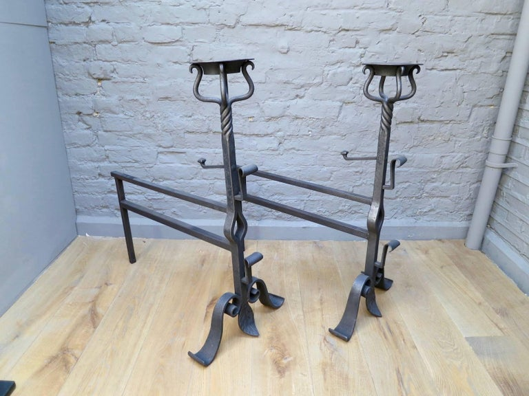 French Pair of Large Wrought Iron Fire Dogs For Sale