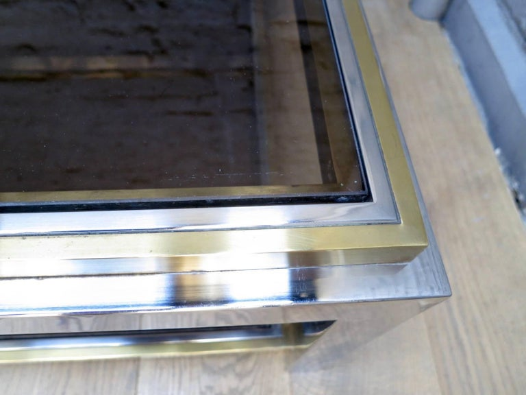 French Brass and Chrome Coffee Table by Jean Charles In Good Condition For Sale In London, GB