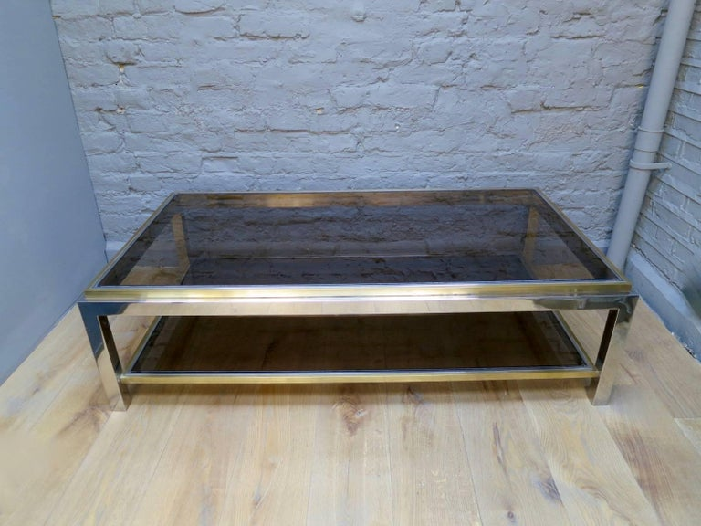 20th Century French Brass and Chrome Coffee Table by Jean Charles For Sale
