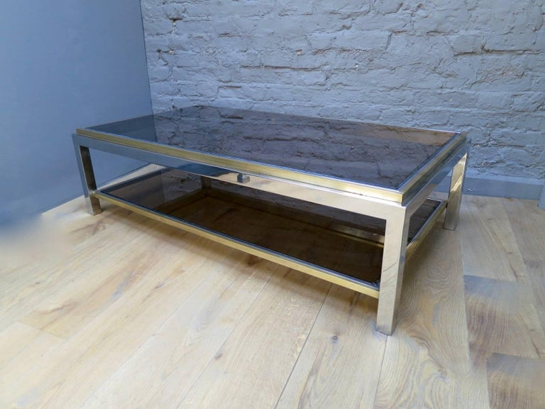 French Brass and Chrome Coffee Table by Jean Charles For Sale 1