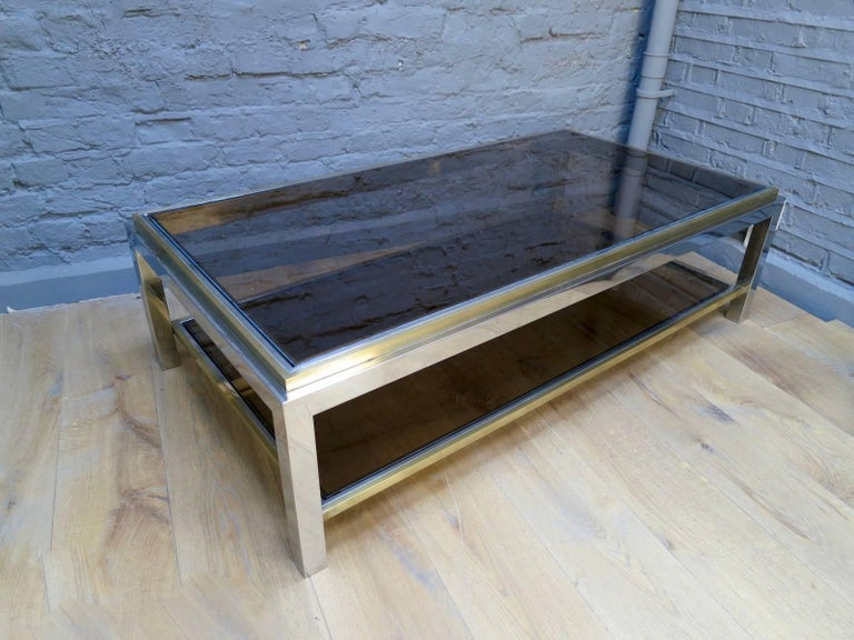 French Brass and Chrome Coffee Table by Jean Charles For Sale 2
