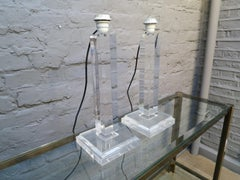 A Pair of Lucite Column Table Lamps