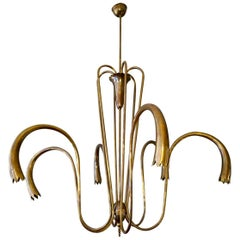 Large Brass Italian 1950s Chandelier