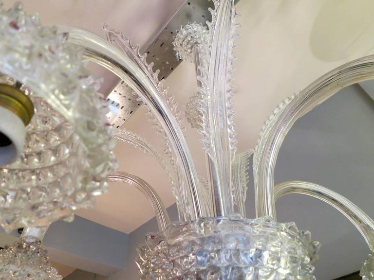 Italian Murano Glass Chandelier Attributed to Barovier e Toso In Good Condition For Sale In London, GB