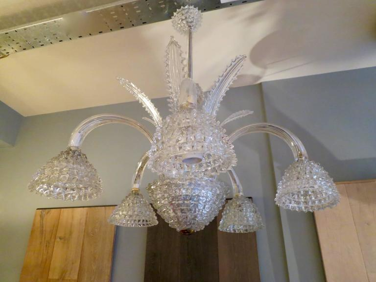 Italian Murano Glass Chandelier Attributed to Barovier e Toso For Sale 1
