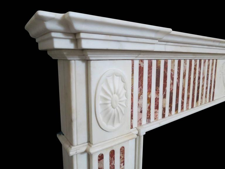 Irish Antique George III Jasper and Statuary Marble Fireplace Mantel  For Sale