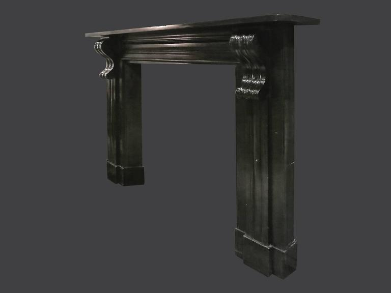 Georgian Antique Early 19th Century Irish Black Marble Fireplace Mantel For Sale