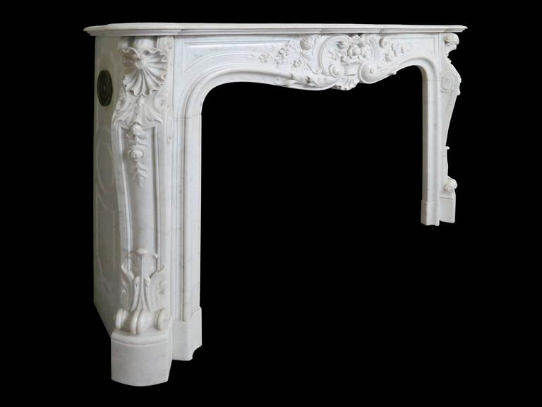 Large French Antique Louis XV Carrara Marble Fireplace Mantel 2