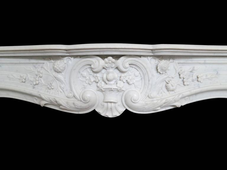 Large French Antique Louis XV Carrara Marble Fireplace Mantel 3