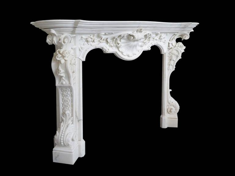 18th Century English Rococo Style Statuary White Marble Fireplace Mantel 2