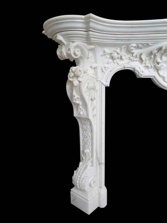 18th Century English Rococo Style Statuary White Marble Fireplace Mantel 3