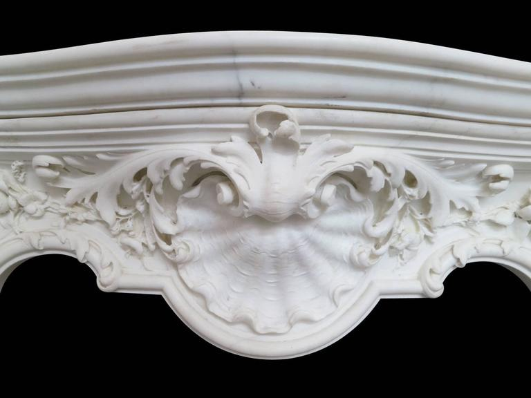 18th Century English Rococo Style Statuary White Marble Fireplace Mantel 5