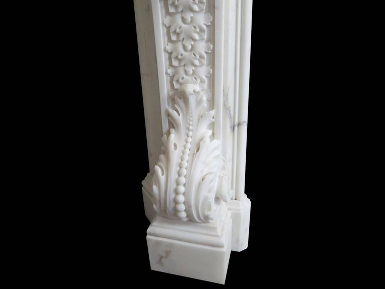 18th Century English Rococo Style Statuary White Marble Fireplace Mantel 7