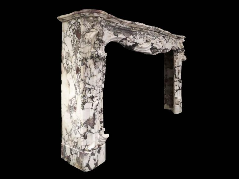 Large Antique French Rococo Breche Violette Marble Fireplace Mantel 2