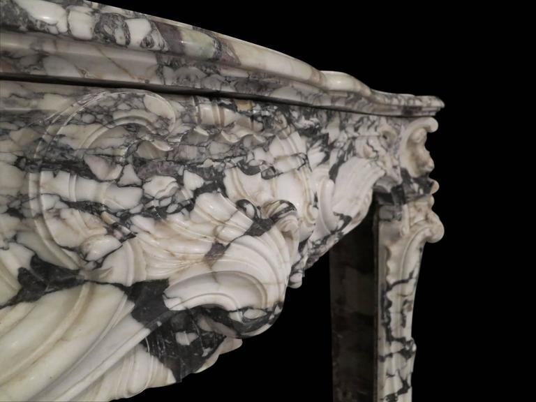 Large Antique French Rococo Breche Violette Marble Fireplace Mantel 4