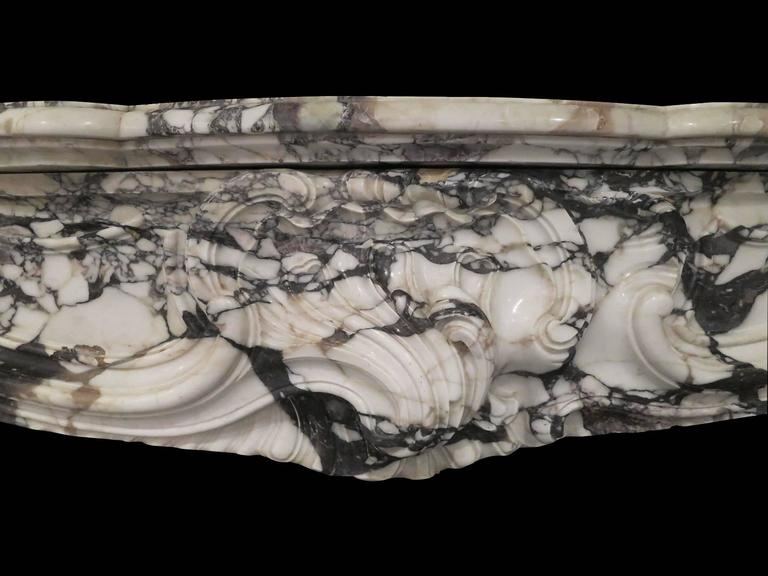 Large Antique French Rococo Breche Violette Marble Fireplace Mantel 5