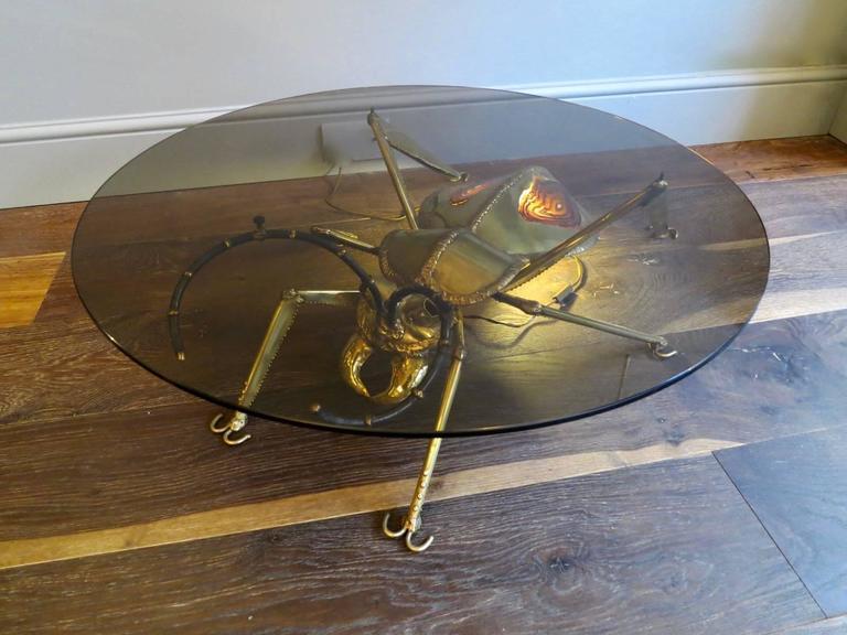 Henri Fernandez Brass Insect Table For Atelier Duval-Brasseur  3