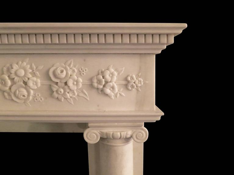 Regency Statuary White Marble Fireplace Mantel 2