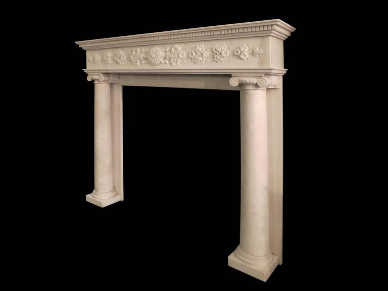 Regency Statuary White Marble Fireplace Mantel 3