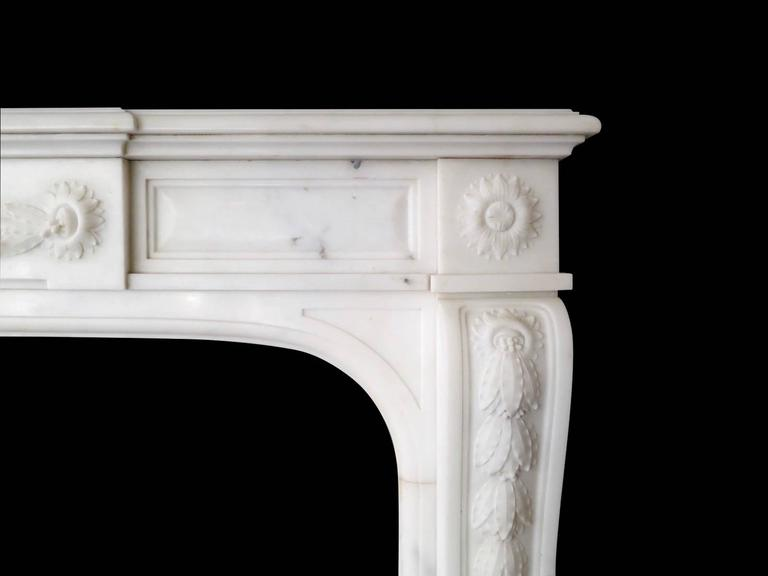 19th Century Statuary White Marble French Fireplace Mantel 2