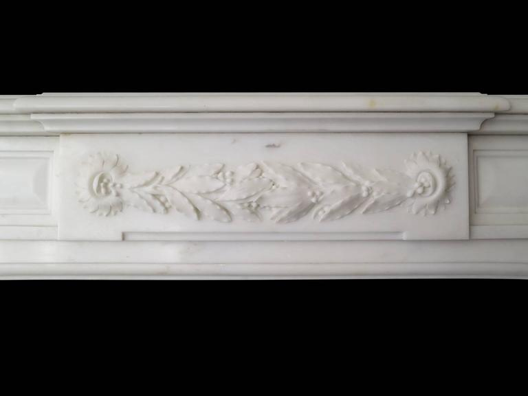 19th Century Statuary White Marble French Fireplace Mantel 3