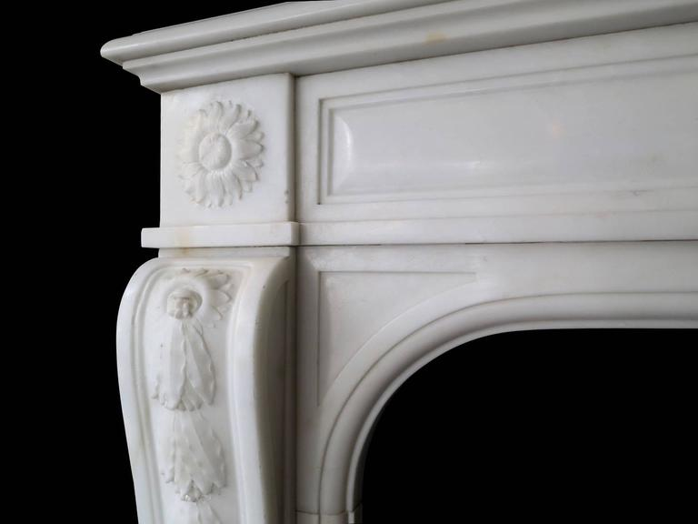 19th Century Statuary White Marble French Fireplace Mantel 4