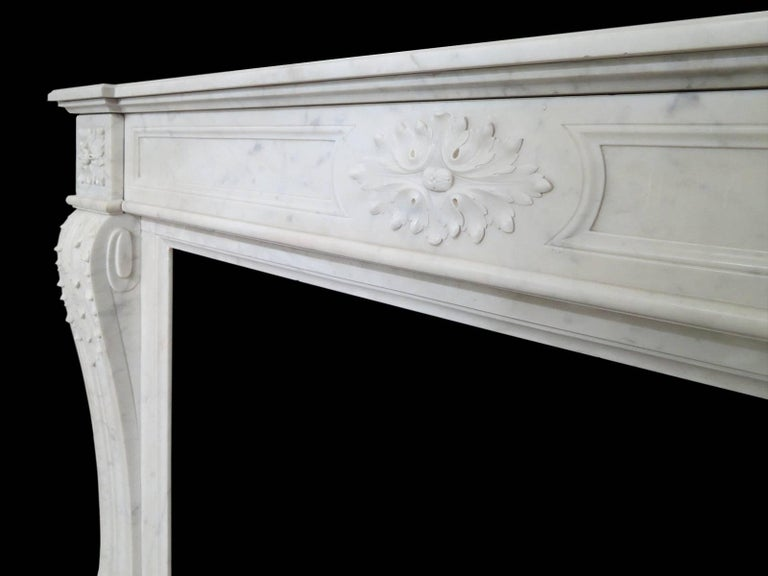 Carved Antique Marble Louis XVI Style French Fireplace Mantel For Sale