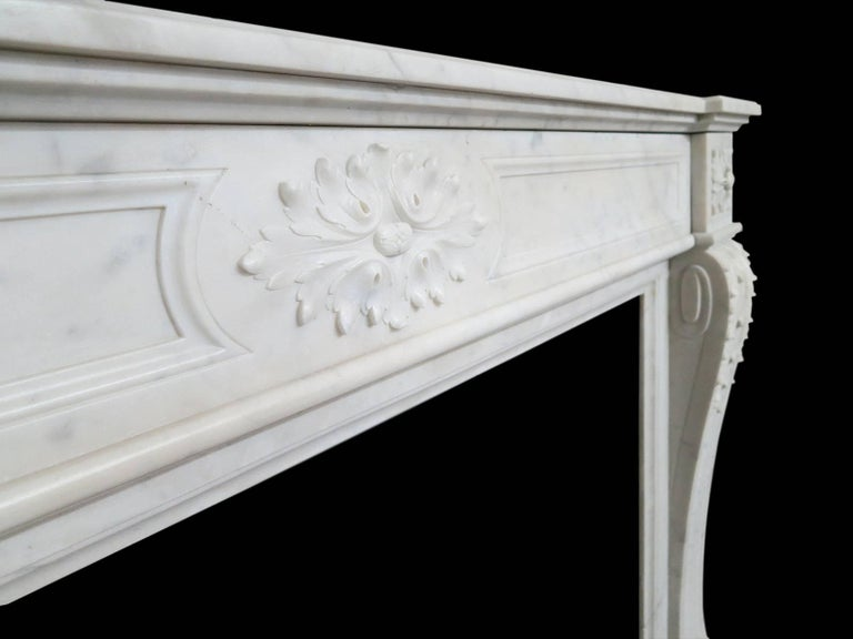 18th Century Antique Marble Louis XVI Style French Fireplace Mantel For Sale