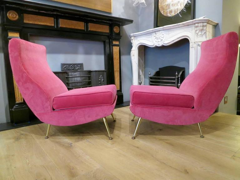 Pair of Italian Mid-Century Modern Velvet Chairs at 1stdibs