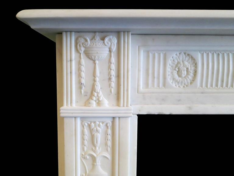 Carved Fine George III Statuary White Marble Fireplace Mantel For Sale