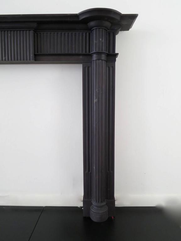 Carved Irish 19th Century Palladian Style Welsh Slate Fireplace Mantle For Sale