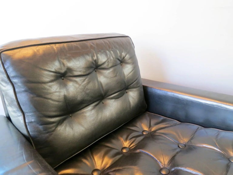 Pair of De Sede Black Leather Armchairs 2
