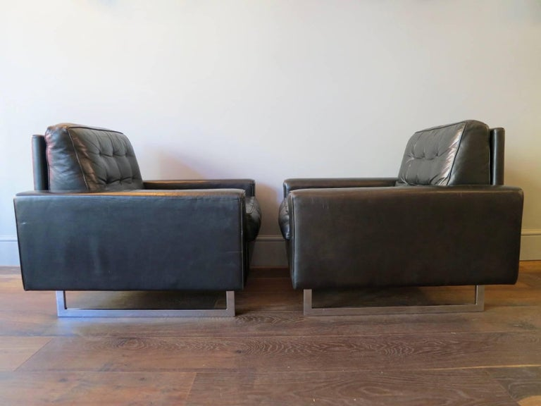 Pair of De Sede Black Leather Armchairs 4